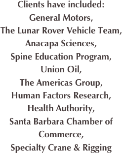 Clients have included: General Motors, The Lunar Rover Vehicle Team, 